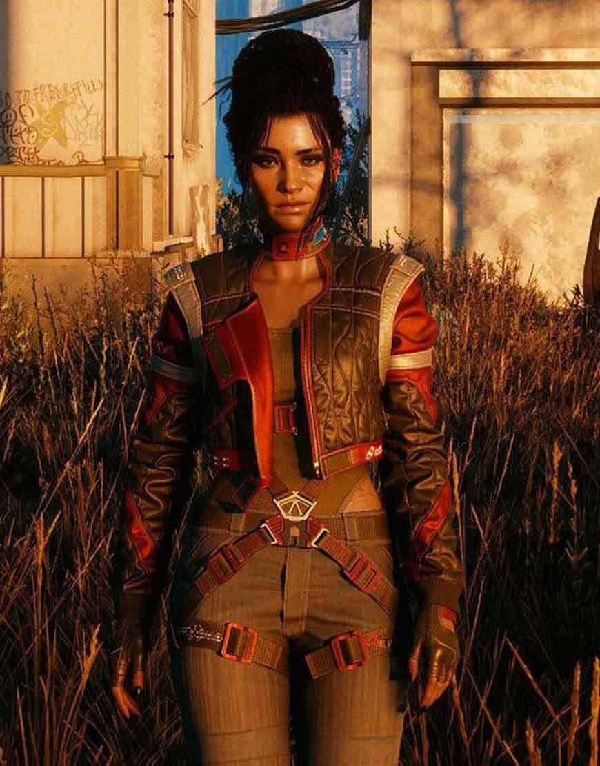 Video-Game-Cyberpunk-2077-V-Panam-Palmer-Red-Gray-Jacket