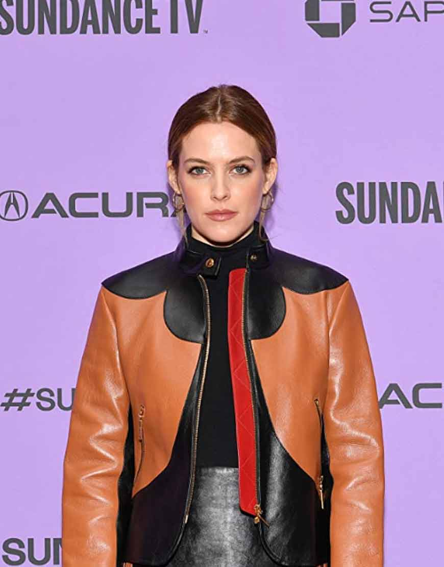 Zola-2021-Riley-Keough--Brown-Leather-Jacket