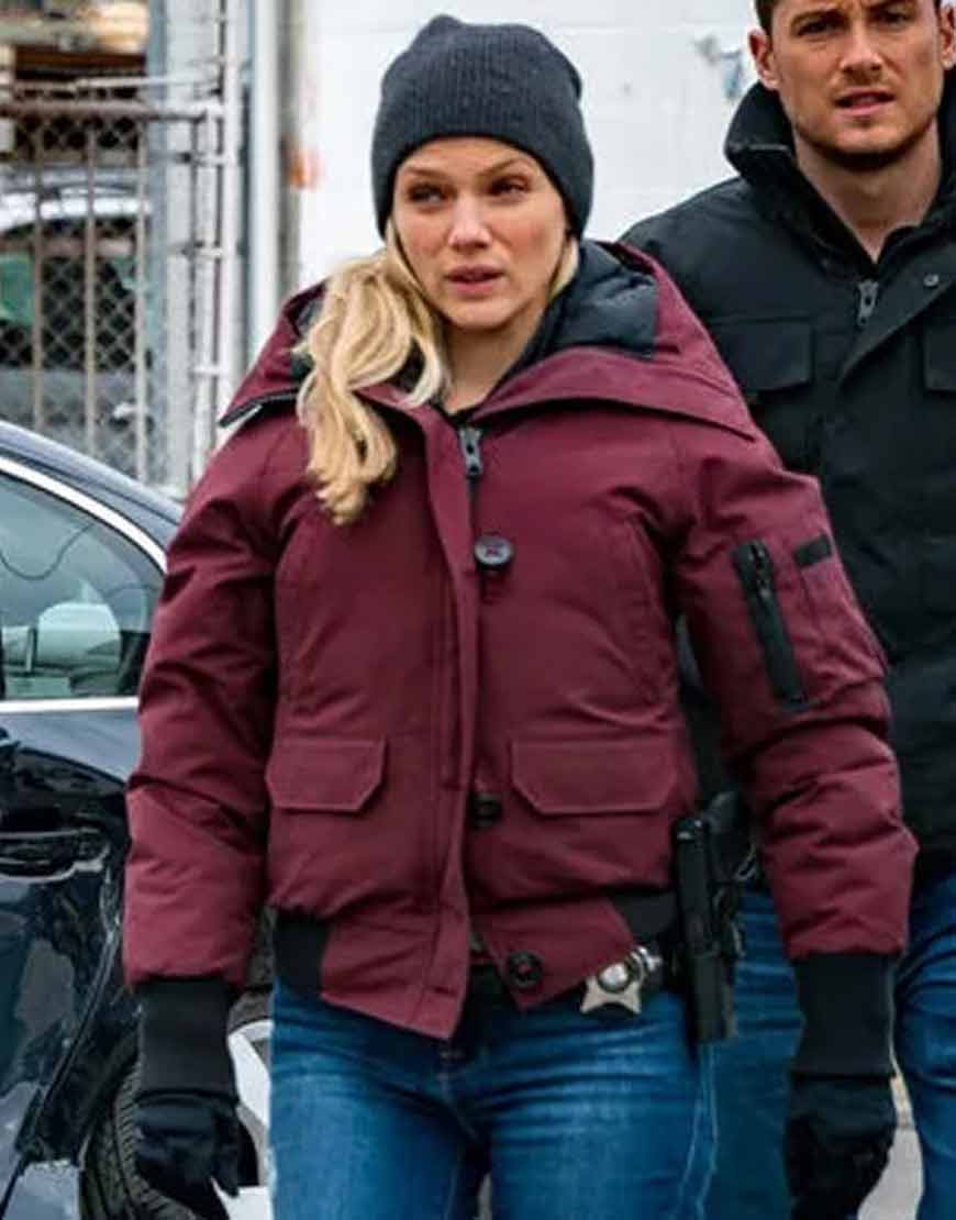 Chicago-P.D.-S08-Hailey-Upton-Maroon-Hooded-Bomber-Jacket