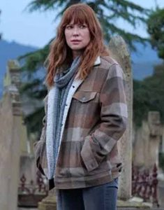 Emma-Booth-The-Gloaming-2021-Plaid-Shearling-Jacket