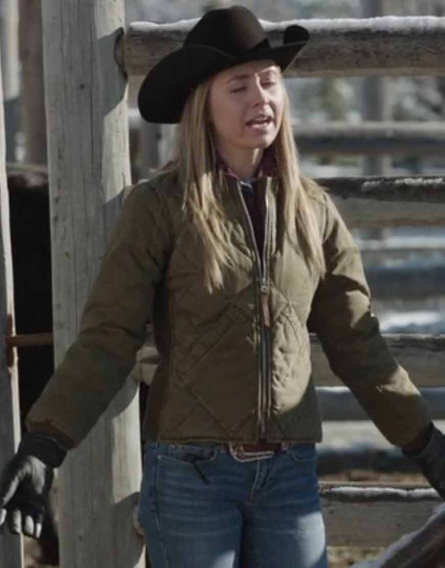 Heartland-S14--Amy-Fleming-Brown-Quilted-Jacket