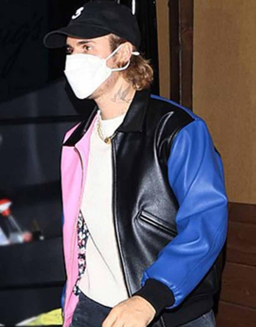 Justin-Bieber-Tri-Color-Leather-Bomber-Jacket