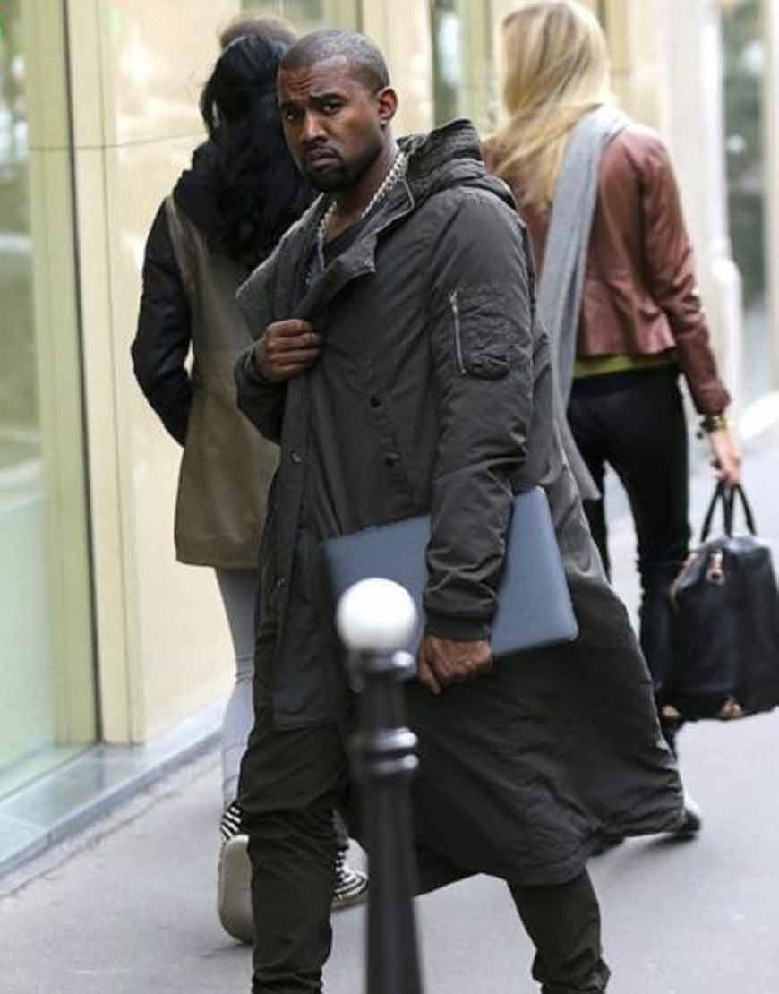 Kanye-West-Grey-Cotton-Long-Coat