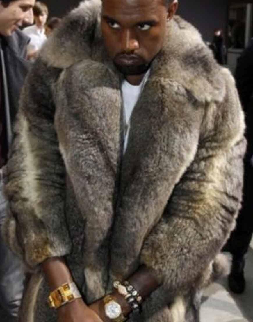 Kanye-West-Grey-Fur-Faux-Coat