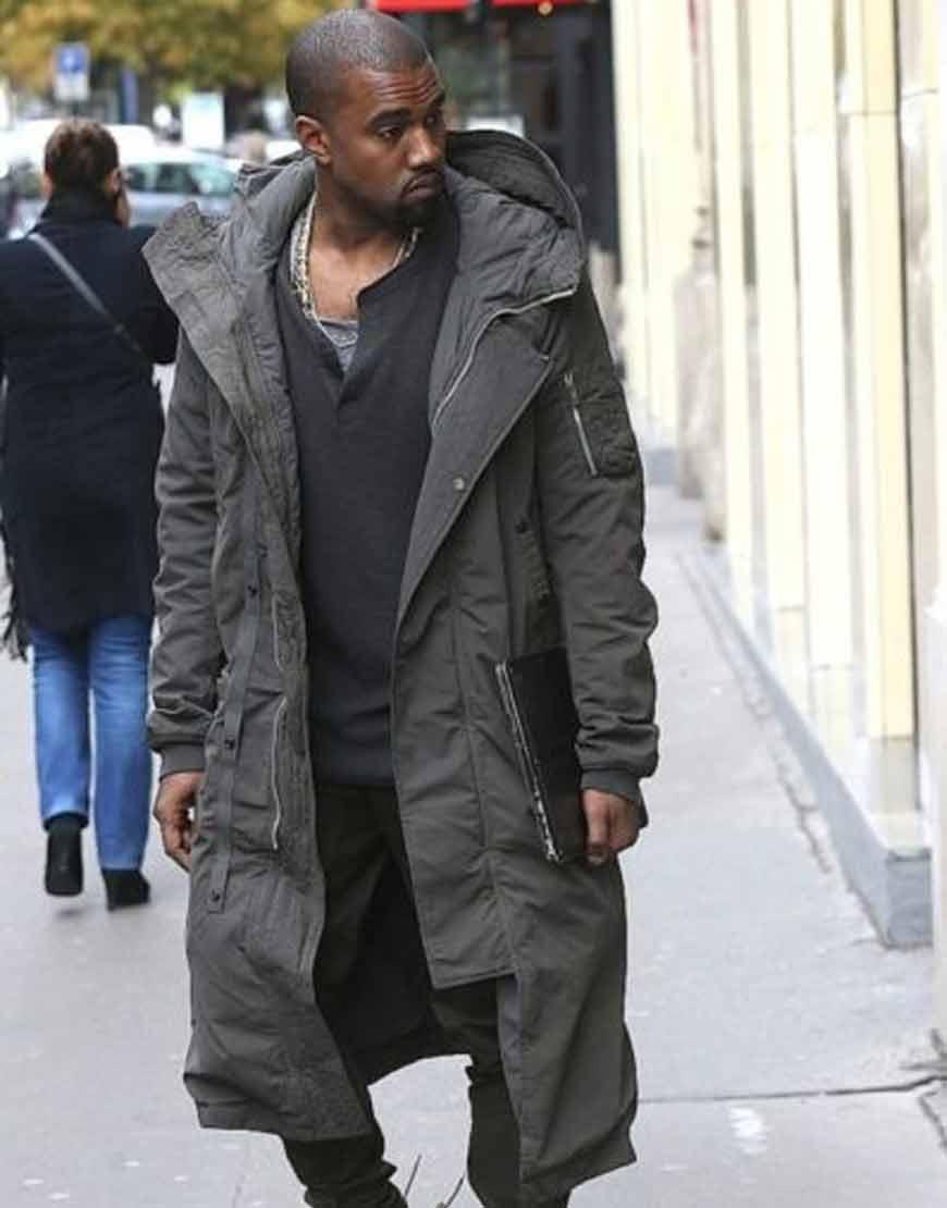 Kanye-West-Grey-Long-Coat