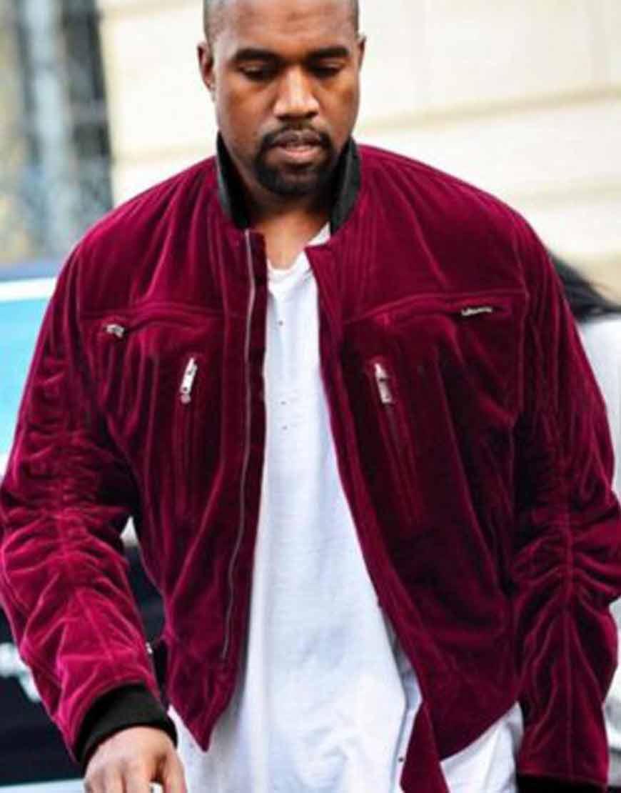 Kanye-West-Red-Velvet-Bomber-Jacket