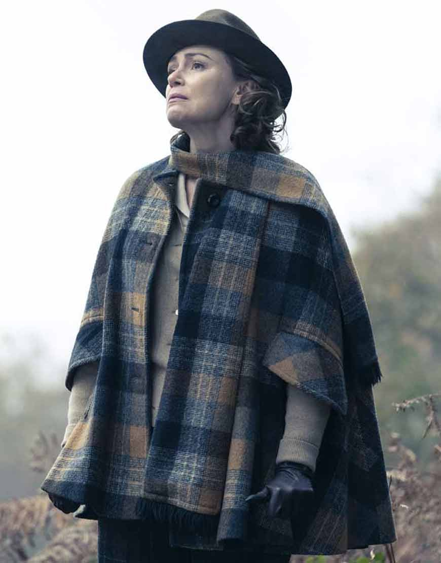 Keeley-Hawes-To-Olivia-2021-Patricia-Neal-Blue-Plaid-Jacket