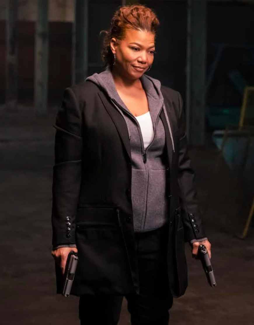 Queen-Latifah-The-Equalizer-Black-Mid-Length-Robyn-McCall-Coat