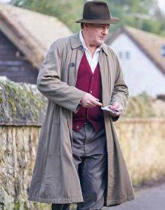 Roald-Dahl-To-Olivia-2021-Hugh-Bonneville-Beige-Trench-Coat