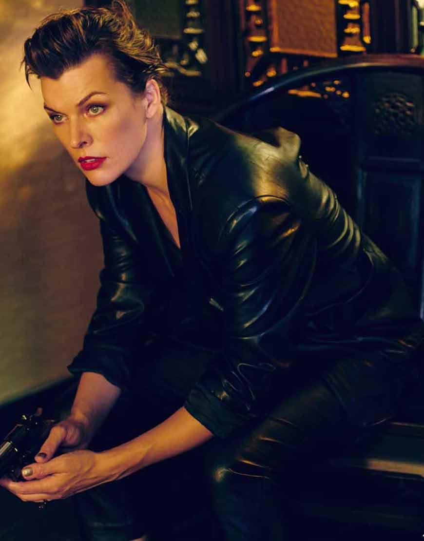 The-Rookies-Milla-Jovovich-Black-Leather-Blazer