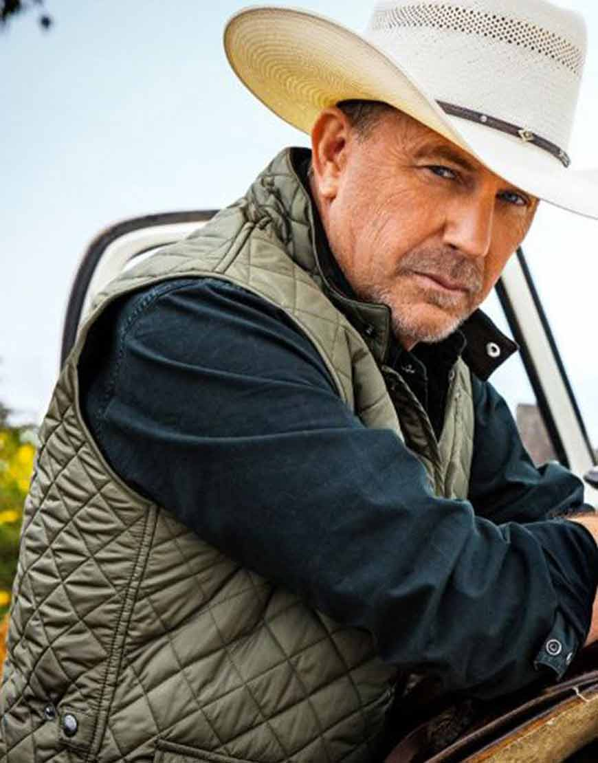 Yellowstone-S04-Kevin-Costner-Militry-Green-Quilted-Vest