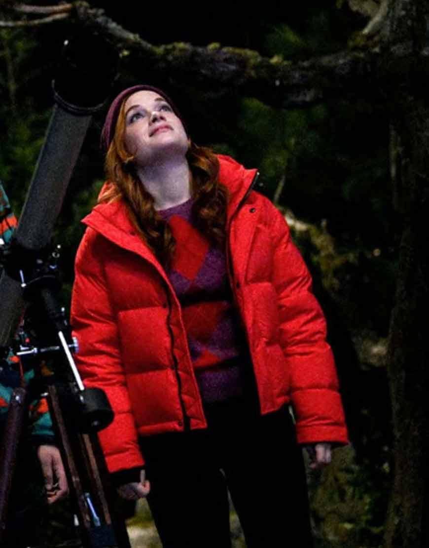 Zoeys-Extraordinary-Playlist-Zoey-Red-Puffer-Jacket