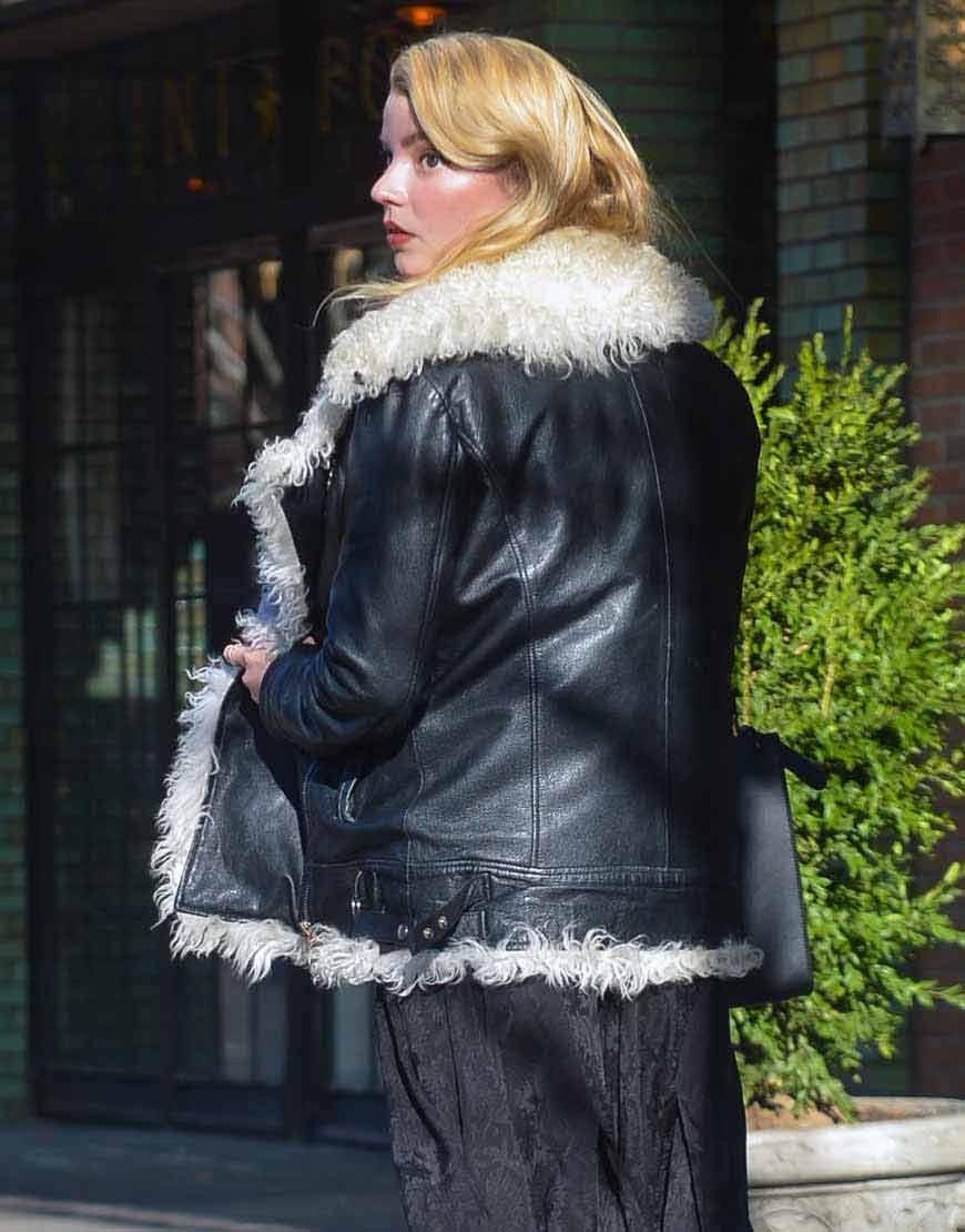 Anya-Taylor-Joy-Fur-Black-Leather-Jacket