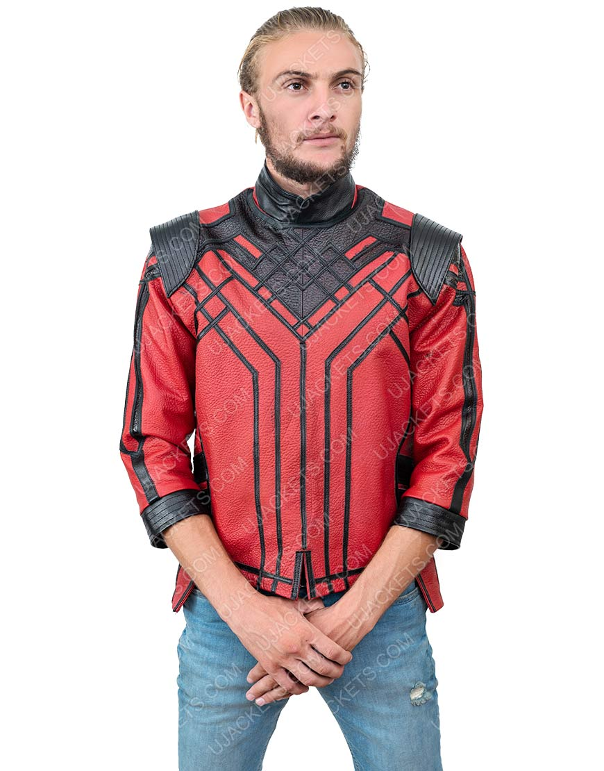 Simu Liu Shang-Chi And The Legend Of The Ten Rings Red Leather Jacket