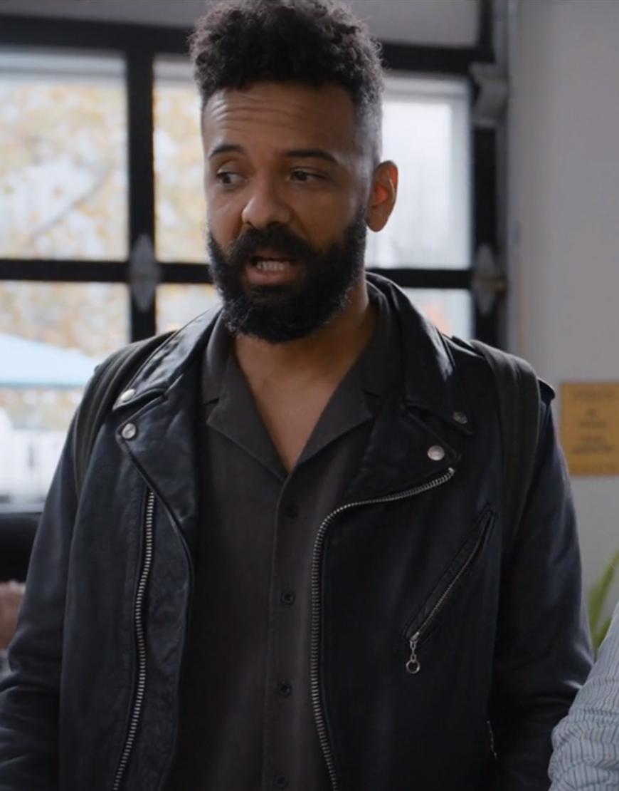 TV-Series Shrill S03 Ian Owens Black Leather Jacket