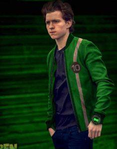 Tom-Holland-Ben-10-2021-Green-Leather-Jacket