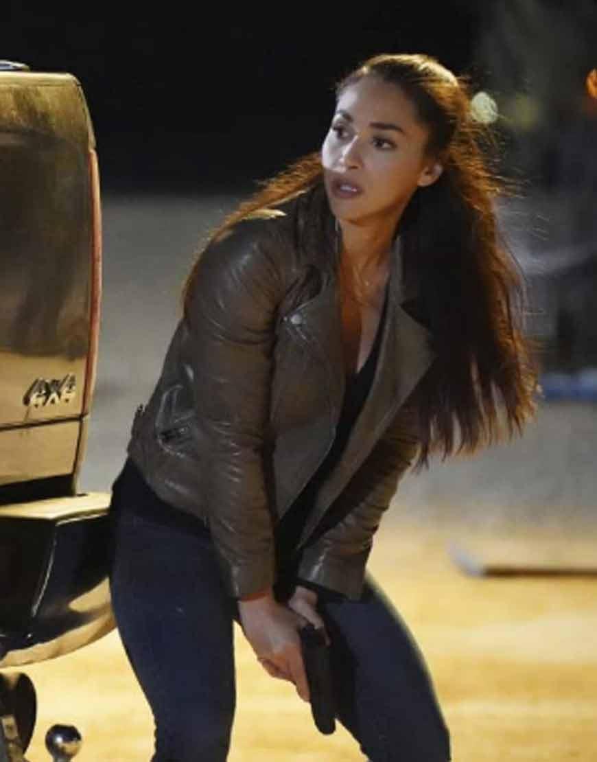 Walker-2021-Lindsey-Morgan-Brown-Leather-Jacket