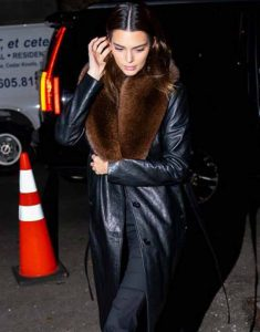 Kendall-Jenner-Black-Leather-Fur-Trench-Coat