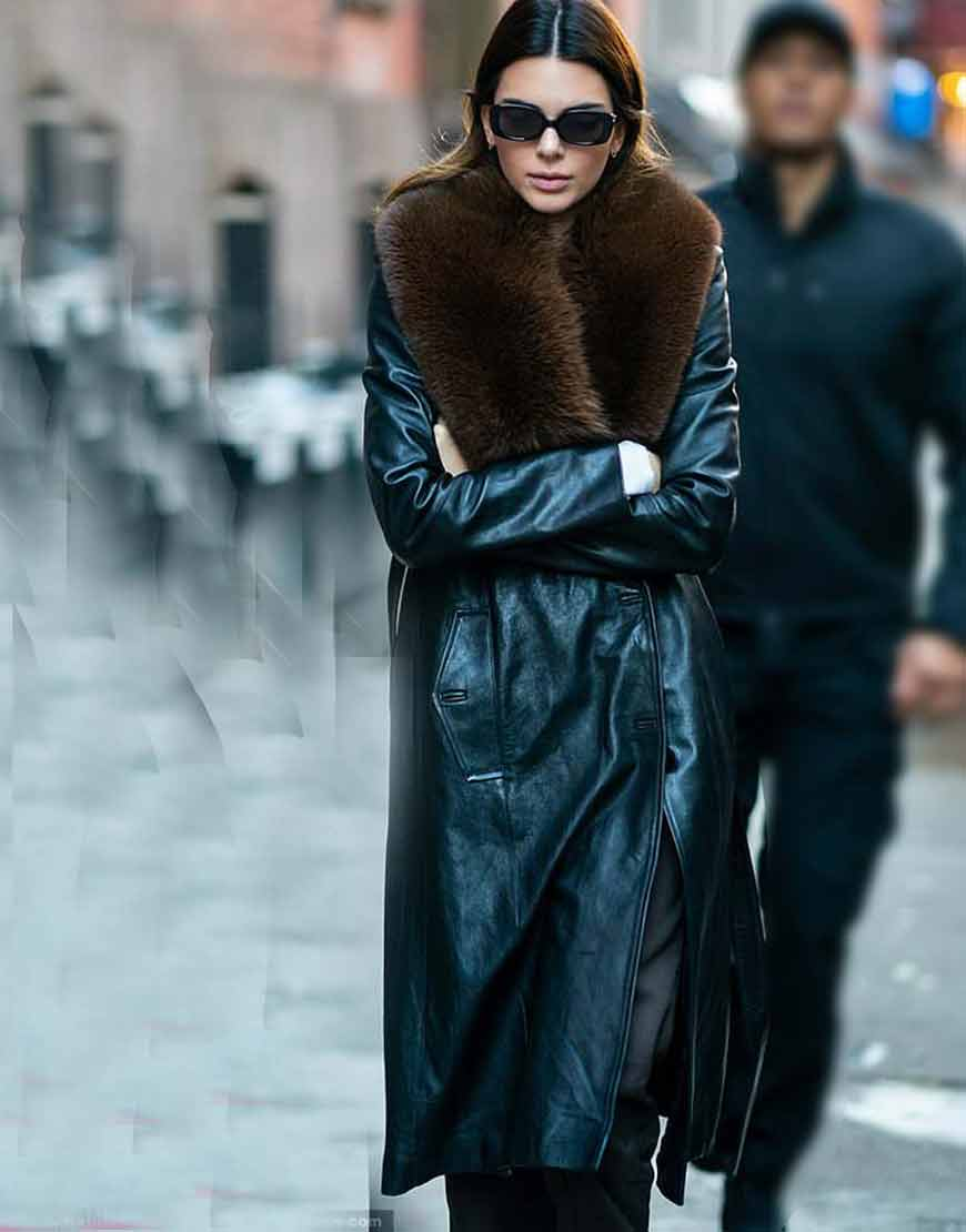 Kendall-Jenner-Black-Leather-Trench-Coat