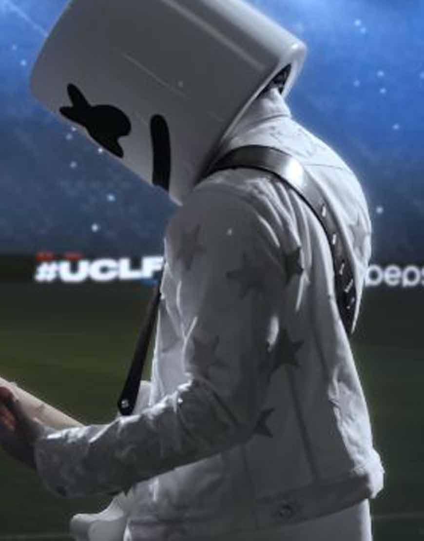 Marshmello-2021-UEFA-Final-White-Leather-Jacket