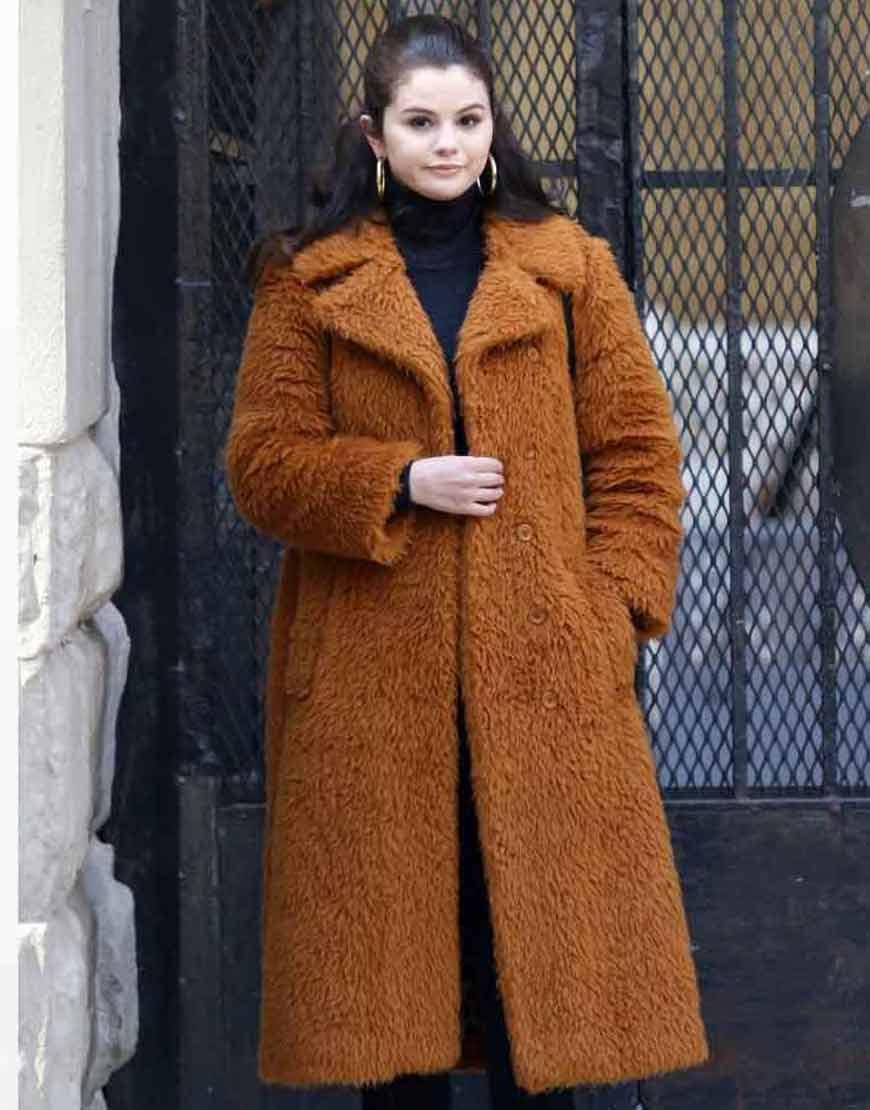 Only-Murders-In-The-Building-2021-Selena-Gomez-Brown-Faux-Fur-Coat