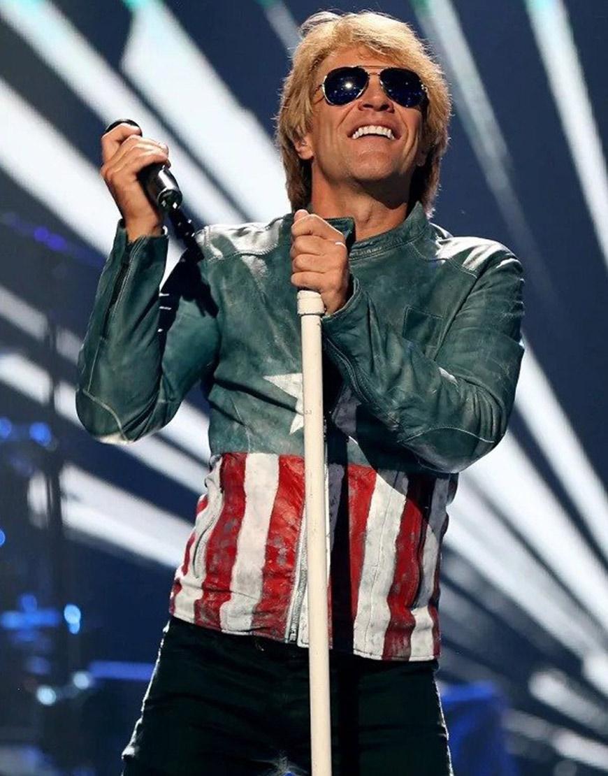 American Singer Jon Bon Jovi USA Flag Leather Jacket