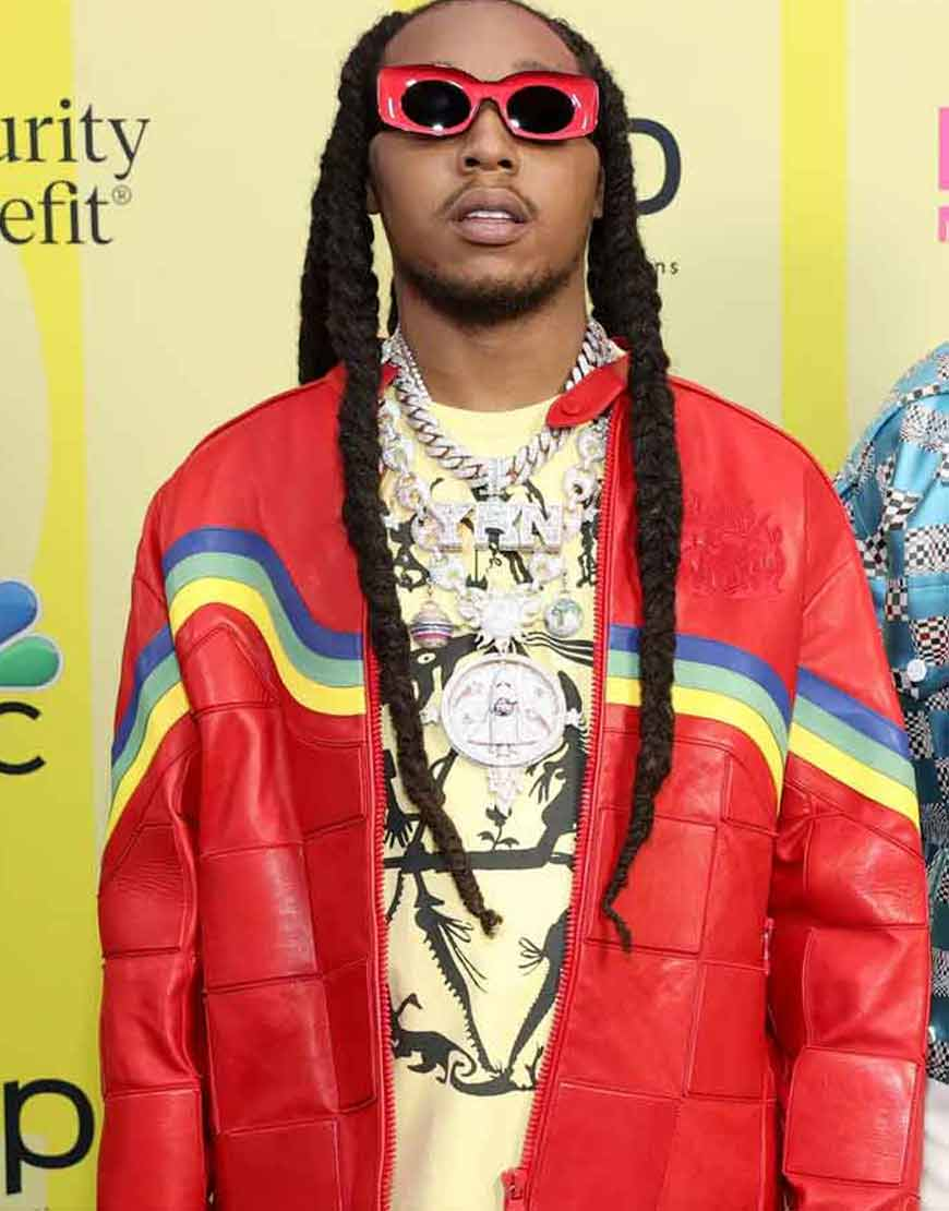 Culture-III-Takeoff-Migos-Red-Leather-Jacket