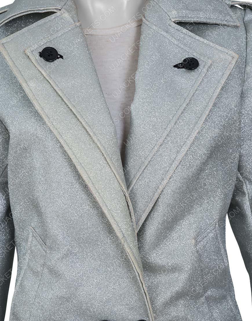Dynasty S03 Fallon Carrington Elizabeth Gillies Silver Metallic Coat