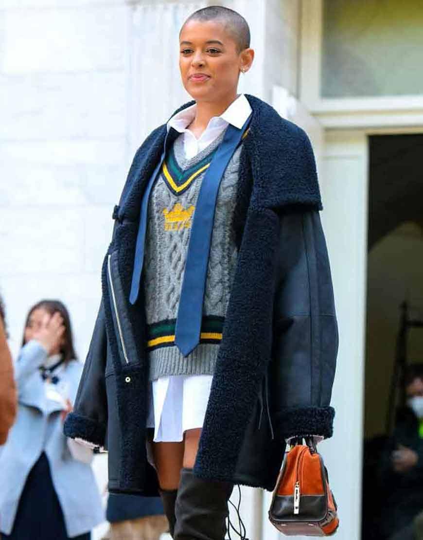 Gossip-Girl-2021-Jordan-Alexander-Black-Shearling-Coat