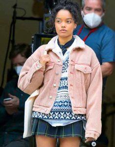 Gossip-Girl-2021-Whitney-Peak-Pink-Sherpa-Jacket