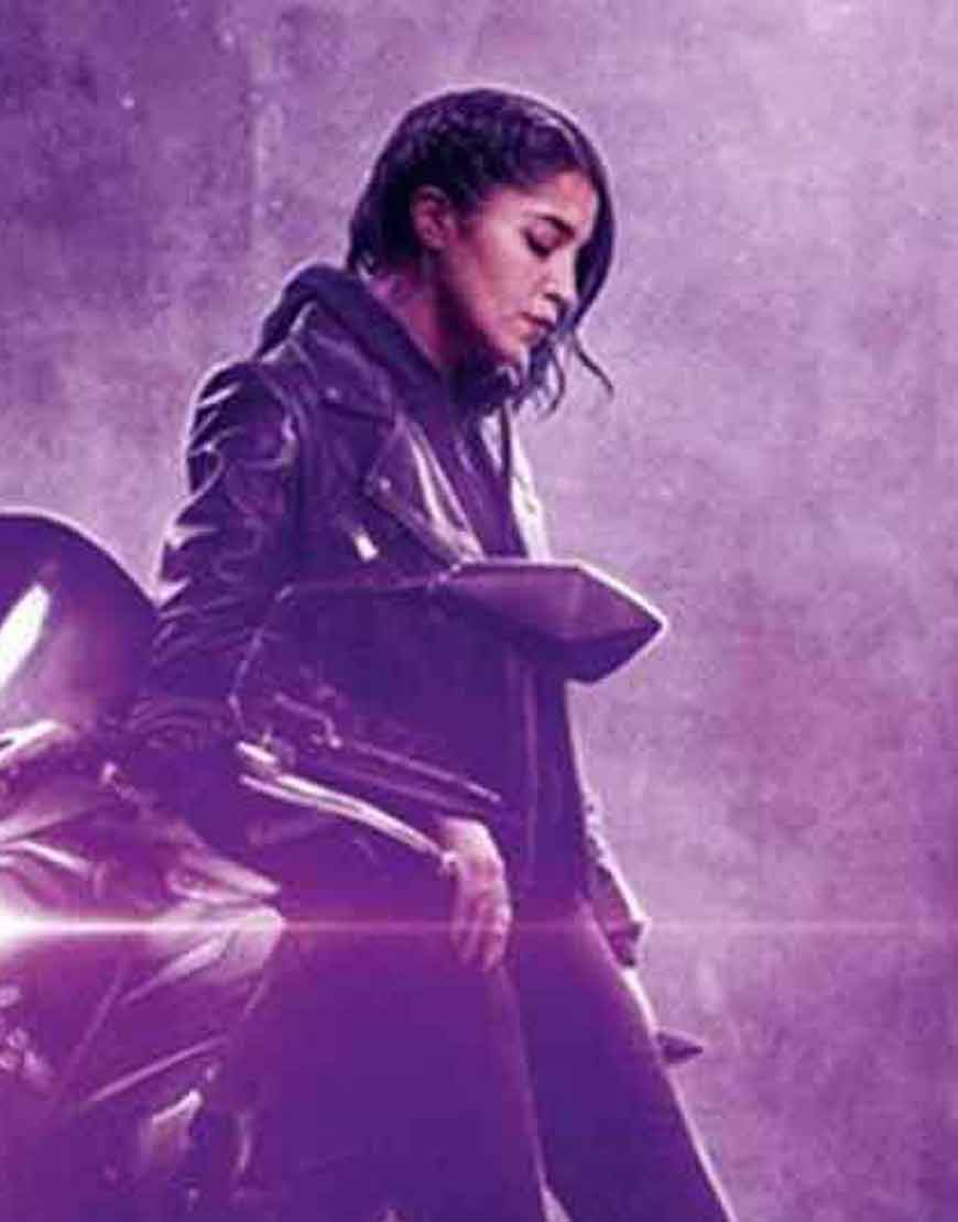 How-I-Became-a-Super-Hero-2021-Leila-Bekhti-Biker-Leather-Jacket