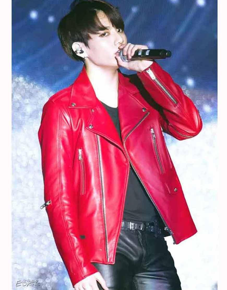 Joe-Jungkook-Red-Leather-Jacket