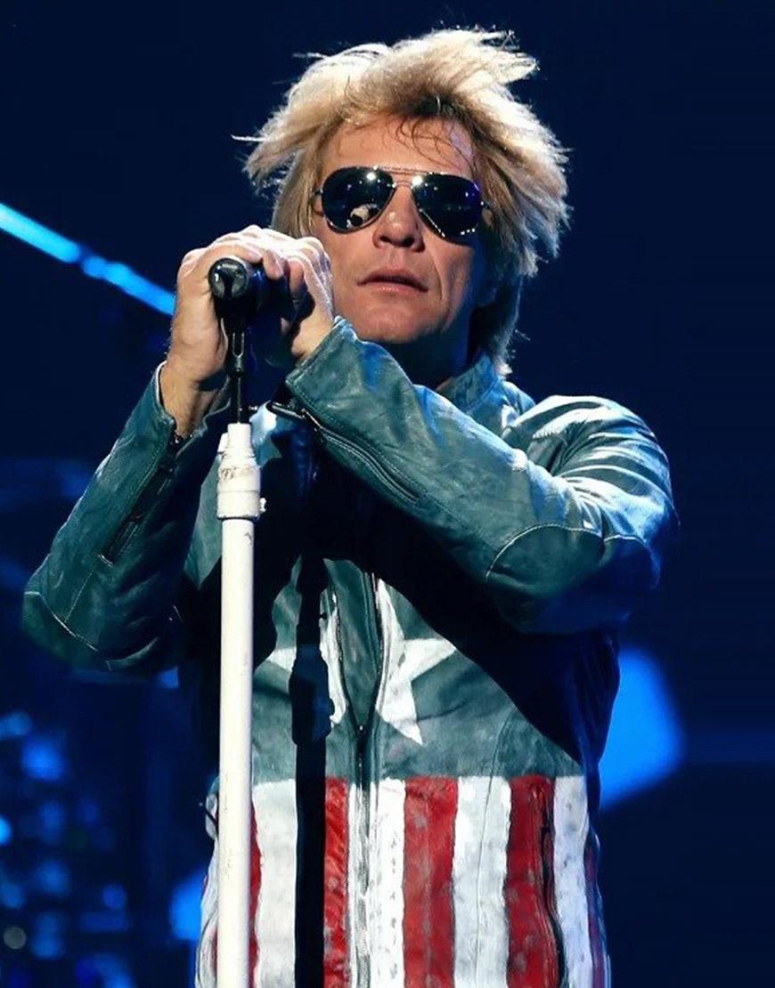 Jon Bon Jovi USA Flag Leather Jacket