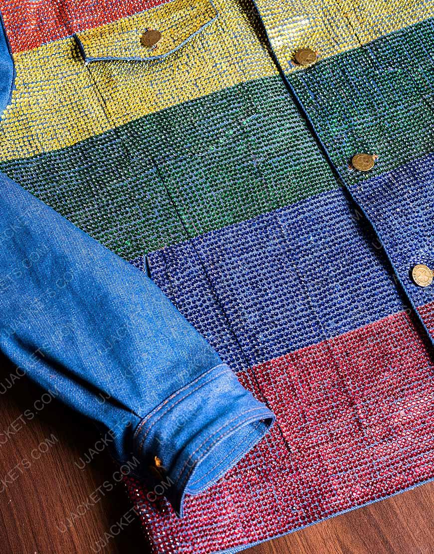 Kamala Harris Pride Flag Denim Rainbow Jacket