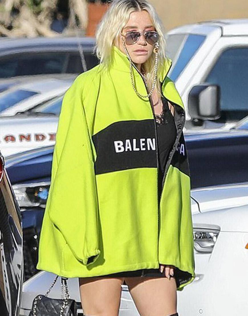 Kesha Highlighter Green Balenciaga Jacket