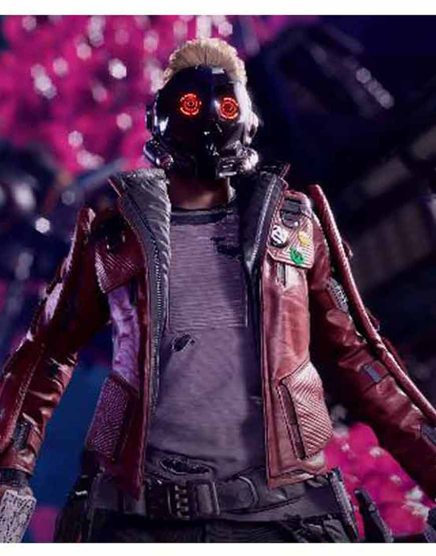 Marvel's-Guardians-of-the-Galaxy-Star-Lord-Game-Maroon-Leather-Jacket