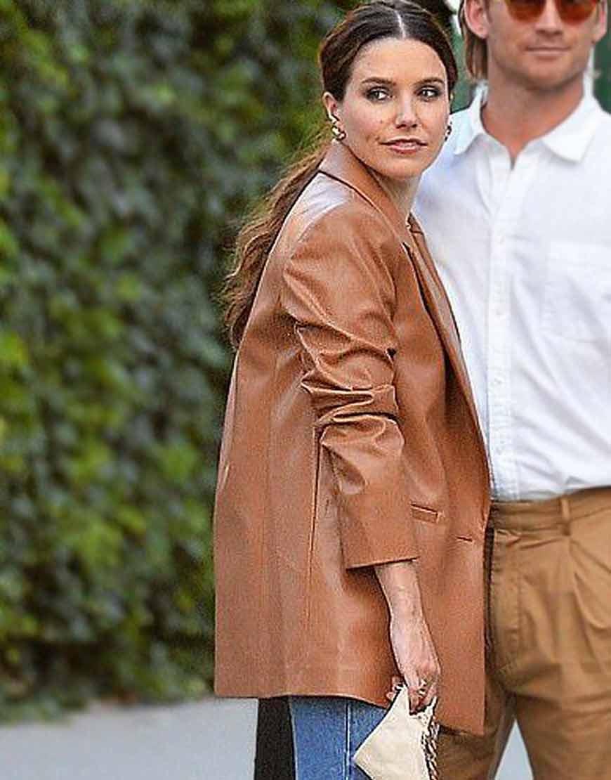 NYC-Sophia-Bush-Oversized-Brown-Blazer