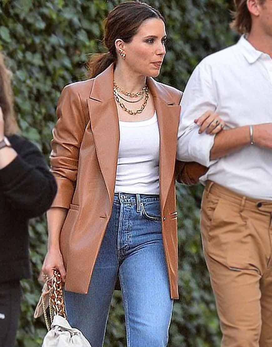 NYC-Sophia-Bush-Oversized-Brown-Leather-Blazer