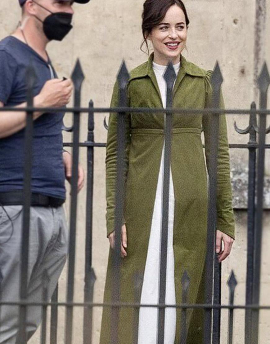 Persuasion Dakota Johnson Green Coat