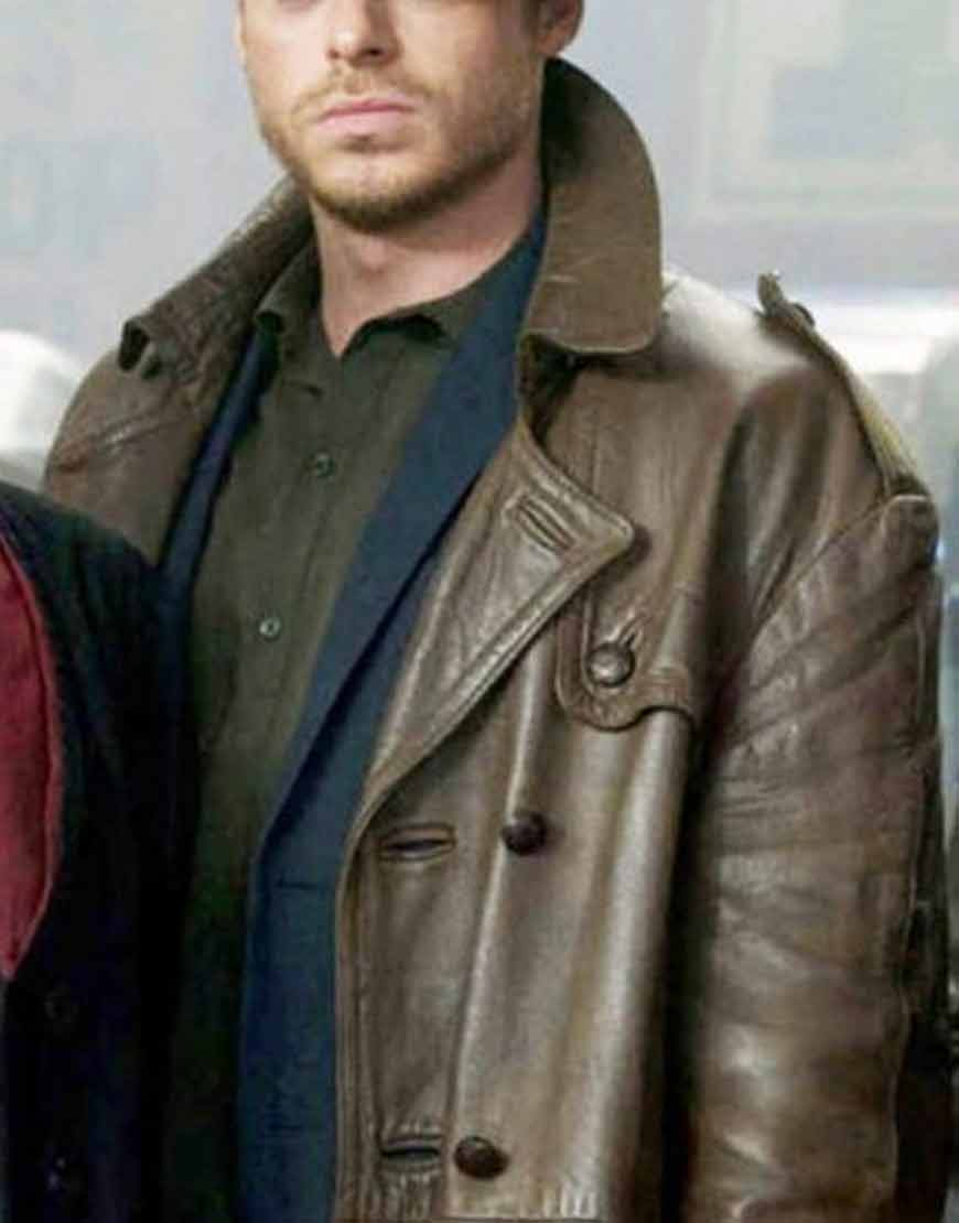 Richard-Madden-The-Eternals-2021-Brown-Leather-Car-Coat