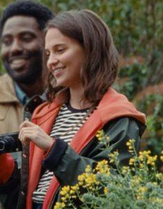 April Movie Beckett 2021 Alicia Vikander Green Hooded Jacket
