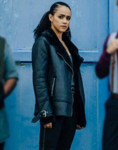 Army Of Thieves 2021 Nathalie Emmanuel Black Leather Jacket