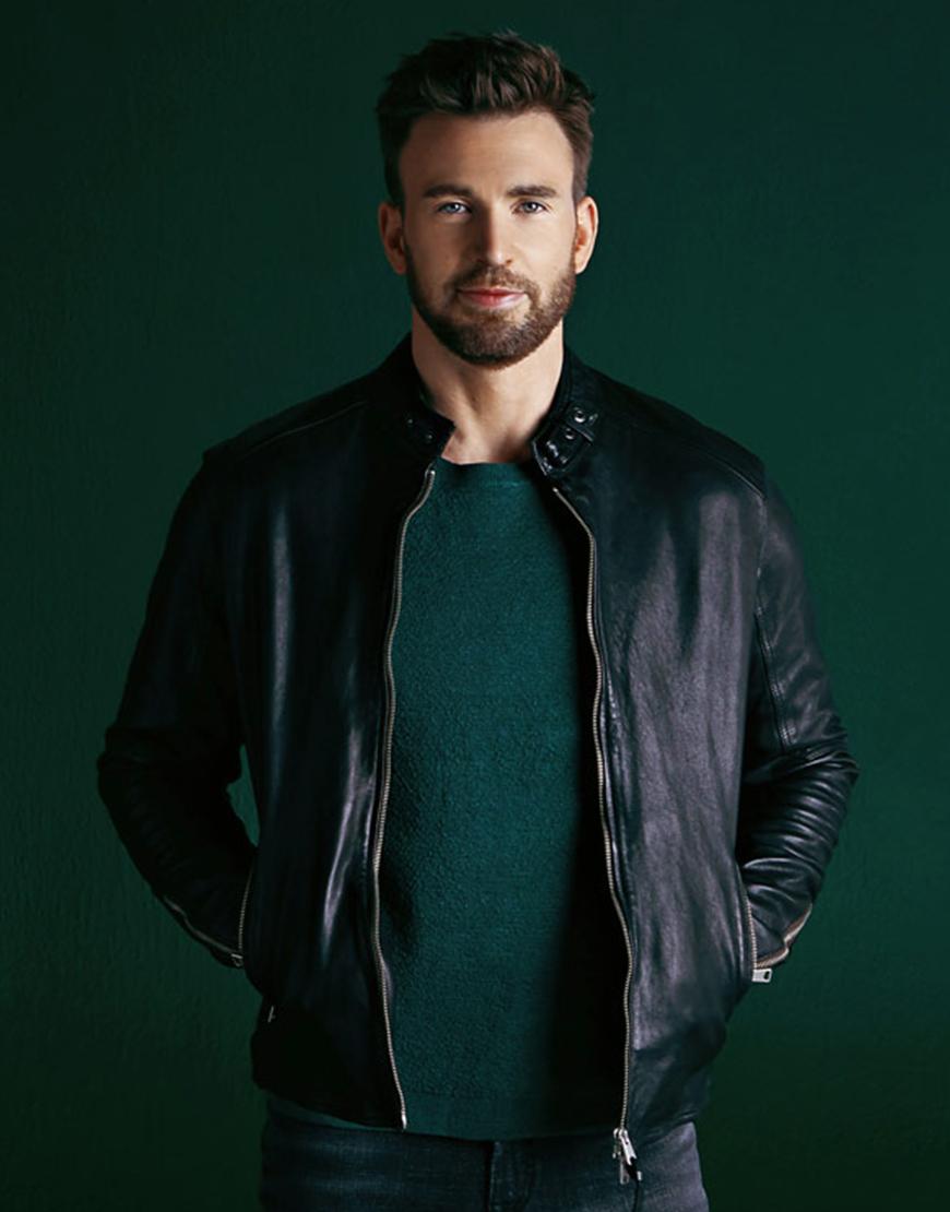 Chris Evans Live Smarter For A Better World Black Leather Jacket
