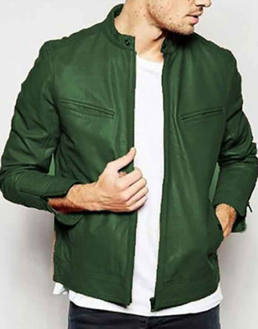 Henry Annette 2021 Adam Driver Green Leather Jacket