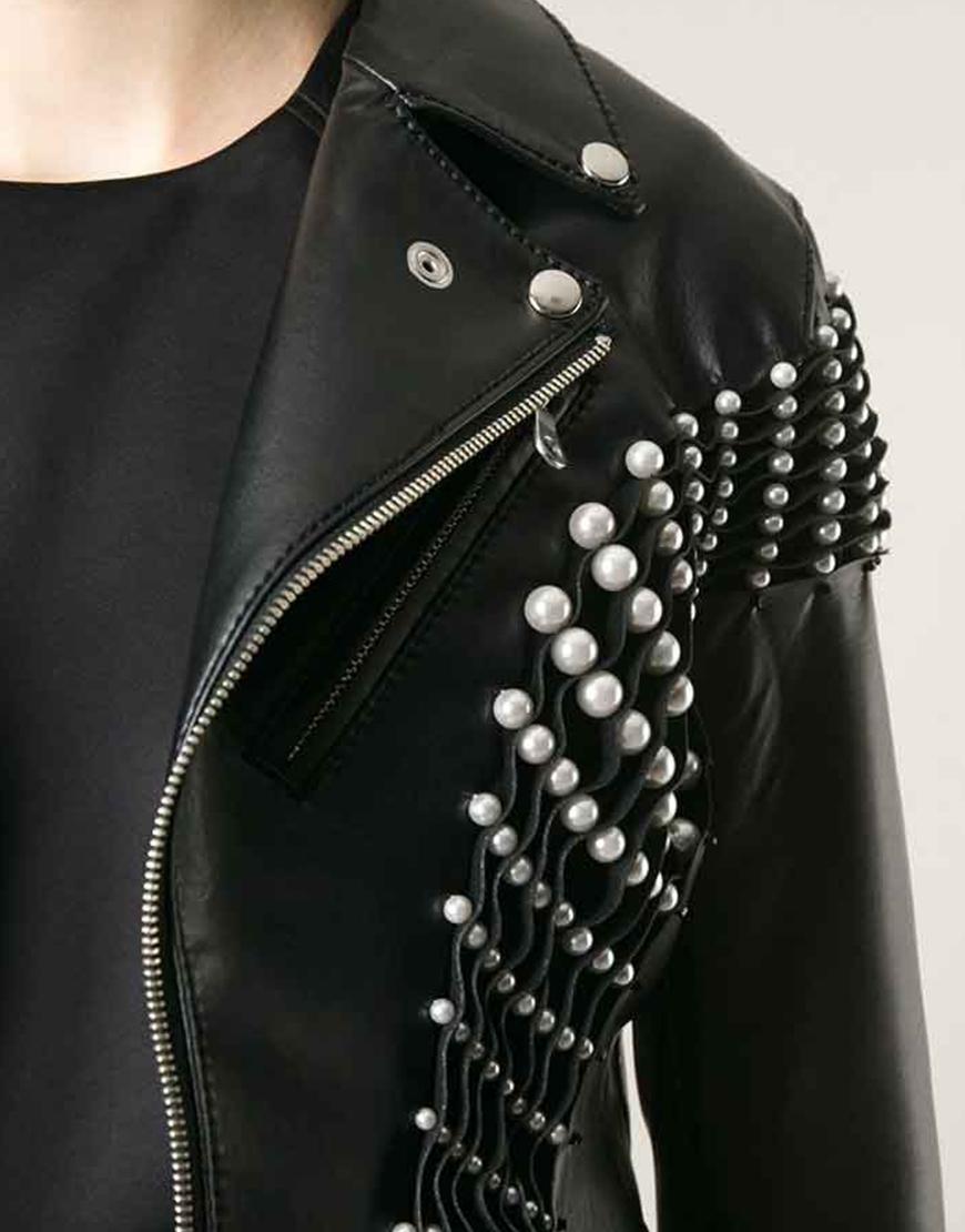RHOBH Erika Jayne Pearl Pleated Biker Leather Jacket