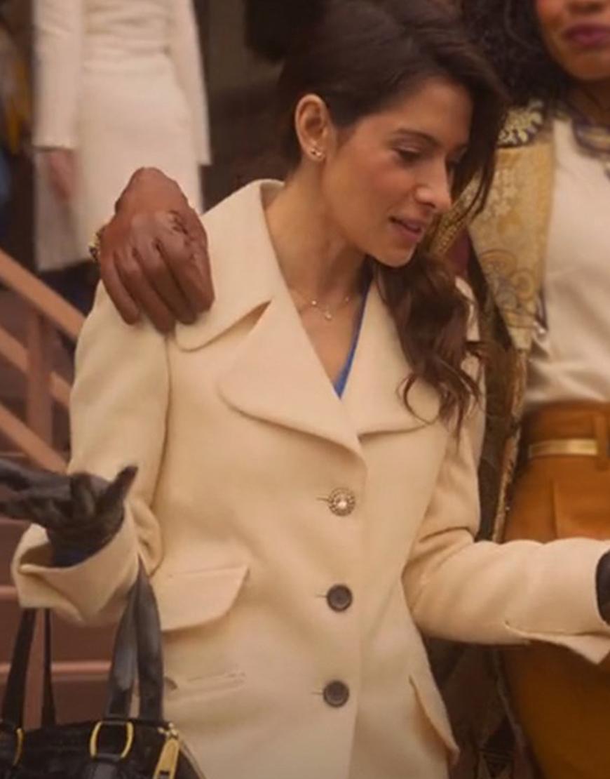 Sarah Shahi Sexlife 2021 Billie Connelly Mid-Length Coat