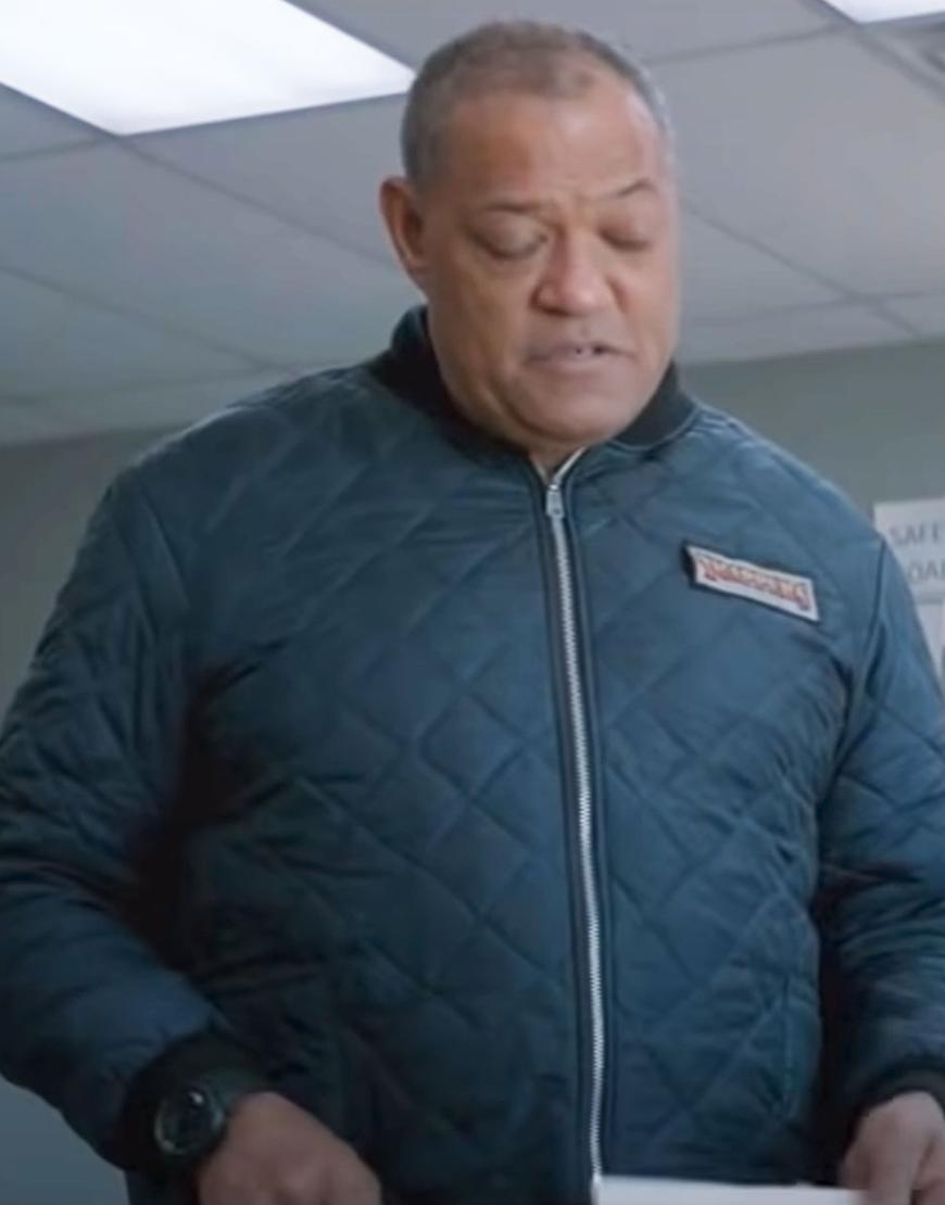 The Ice Road 2021 Laurence Fishburne Blue Jacket
