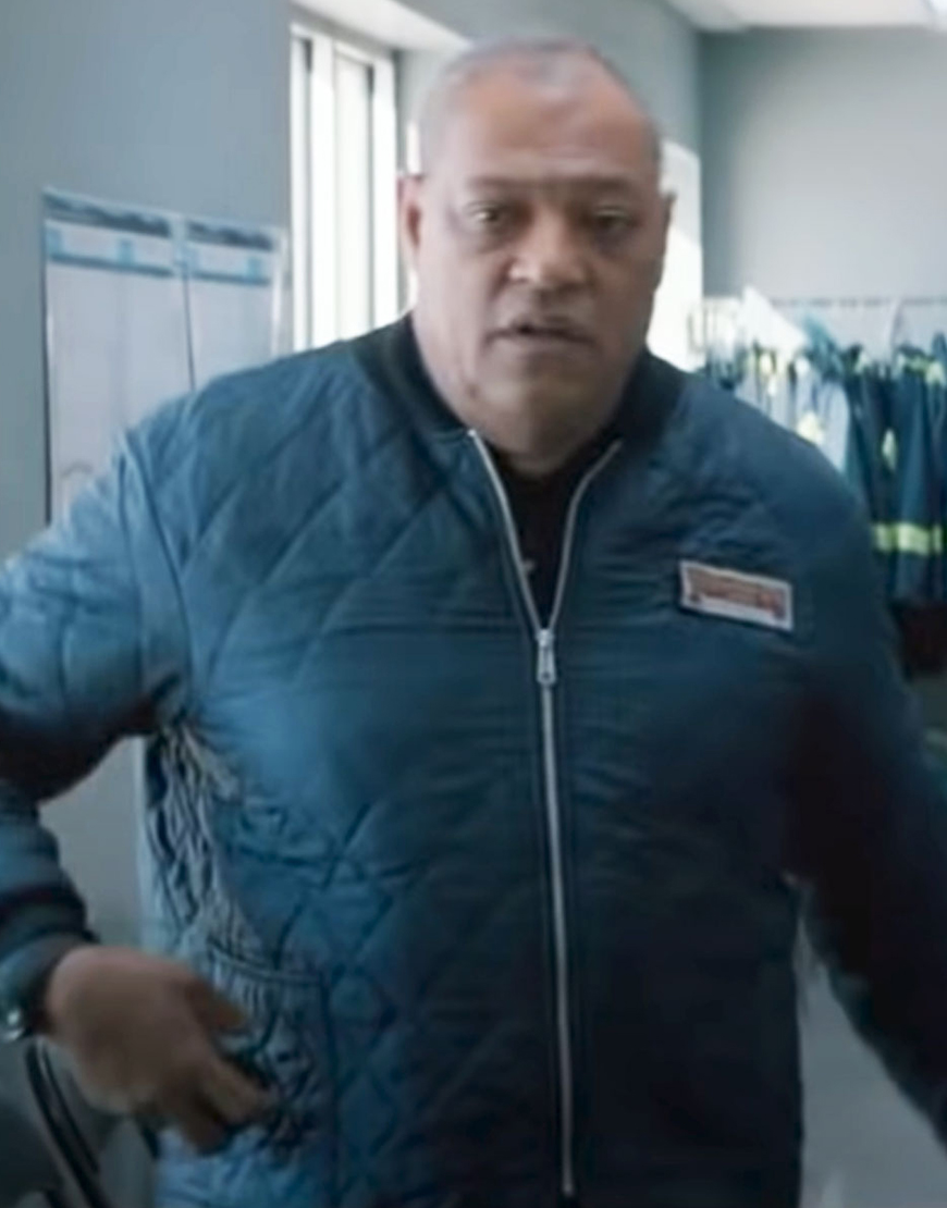 The Ice Road 2021 Laurence Fishburne Blue Quilted Jacket