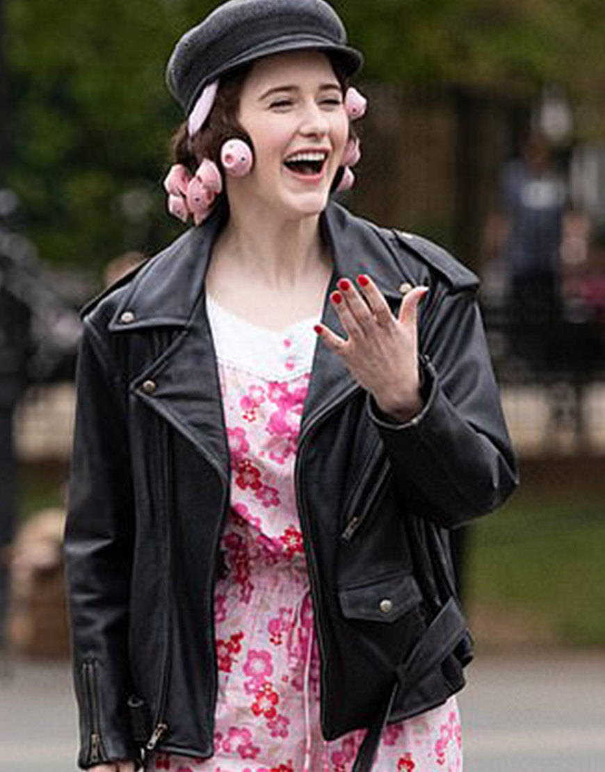 The Marvelous Mrs. Maisel S04 Rachel Brosnahan Black Leather Jacket