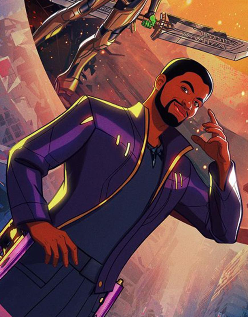 What If… Chadwick Boseman Star Lord Purple Jacket